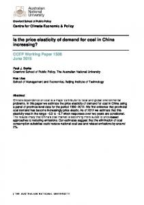 Is the price elasticity of demand for coal in China increasing?