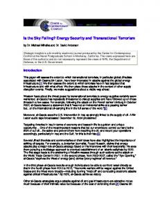 Is the Sky Falling? Energy Security and Transnational Terrorism