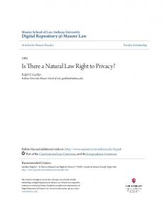 Is There a Natural Law Right to Privacy?