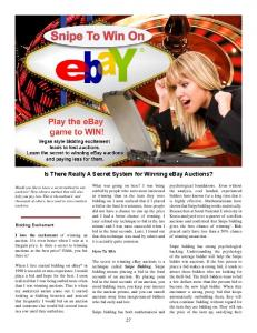 Is There Really A Secret System for Winning ebay Auctions?