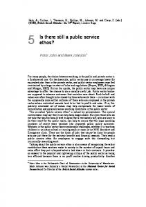 Is there still a public service ethos?