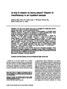 Is this D vitamin to worry about? Vitamin D insufficiency in an inpatient sample