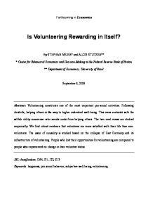 Is Volunteering Rewarding in Itself?
