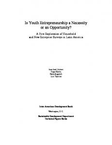 Is Youth Entrepreneurship a Necessity or an Opportunity?