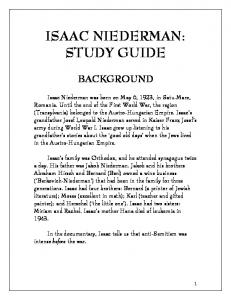 ISAAC NIEDERMAN: STUDY GUIDE