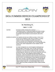 ISCA SUMMER SENIOR CHAMPIONSHIP 2016