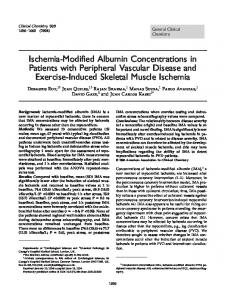 Ischemia-Modified Albumin Concentrations in Patients with Peripheral Vascular Disease and Exercise-Induced Skeletal Muscle Ischemia