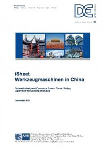 isheet Werkzeugmaschinen in China German Industry and Commerce Greater China Beijing Department for Sourcing and Sales
