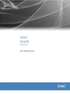 Isilon OneFS. Version API Reference