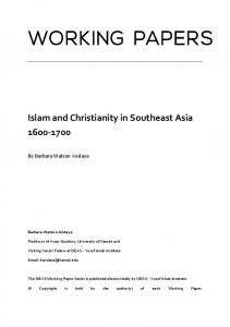 Islam and Christianity in Southeast Asia