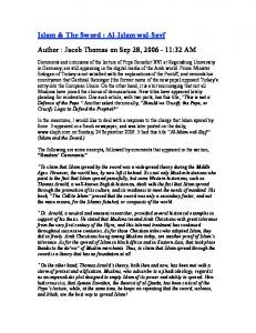 Islam & The Sword : Al-Islam wal-sayf Author : Jacob Thomas on Sep 28, :32 AM