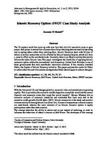 Islamic Economy Option: SWOT Case Study Analysis