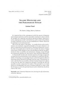 Islamic Mysticism and the Paradigm of Fitrah