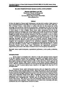 ISLAMIC PERSPECTIVES OF HUMAN CAPITAL DEVELOPMENT
