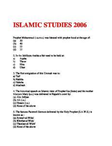 ISLAMIC STUDIES 2006