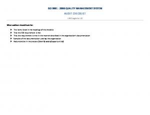 ISO 9001 : 2008 QUALITY MANAGEMENT SYSTEM