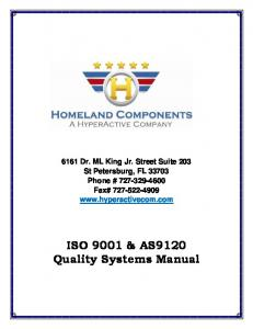 ISO 9001 & AS9120 Quality Systems Manual