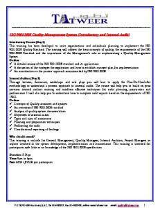 ISO 9001:2008 Quality Management System (Introductory and Internal Audit)