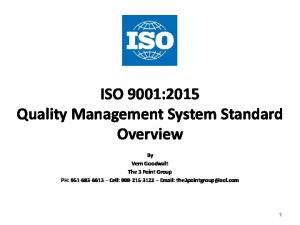 ISO 9001:2015 Quality Management System Standard Overview