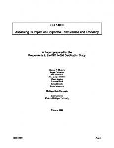 ISO Assessing Its Impact on Corporate Effectiveness and Efficiency