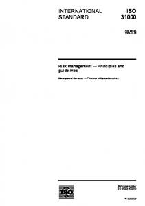 ISO INTERNATIONAL STANDARD. Risk management Principles and guidelines. Management du risque Principes et lignes directrices