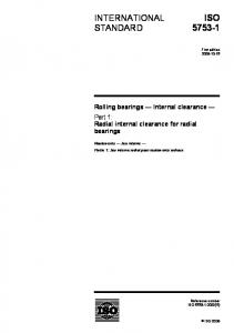 ISO INTERNATIONAL STANDARD. Rolling bearings Internal clearance Part 1: Radial internal clearance for radial bearings