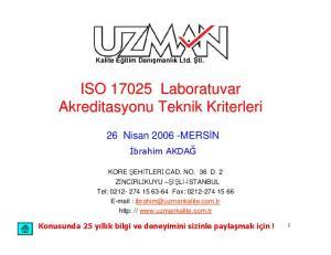 ISO Laboratuvar Akreditasyonu Teknik Kriterleri