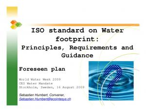 ISO standard on Water footprint: Principles, Requirements and Guidance