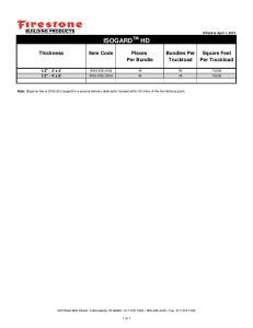 ISOGARD TM HD. Thickness Item Code Pieces Bundles Per Square Feet Per Bundle Truckload Per Truckload