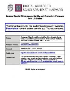 Isolated Capital Cities, Accountability and Corruption: Evidence from US States
