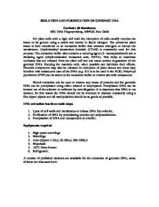 ISOLATION AND PURIFICATION OF GENOMIC DNA. Gurinder Jit Randhawa NRC DNA Fingerprinting, NBPGR, New Delhi