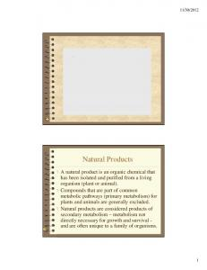 Isolation of Natural Products