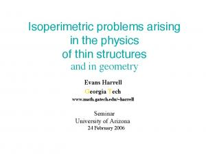 Isoperimetric problems arising in the physics of thin structures and in geometry