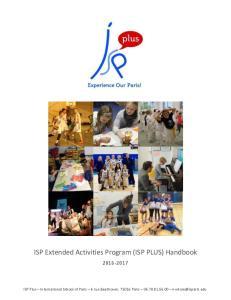 ISP Extended Activities Program (ISP PLUS) Handbook