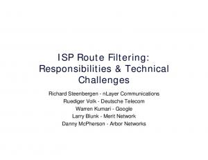 ISP Route Filtering: Responsibilities & Technical Challenges