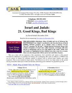 Israel and Judah: 21. Good Kings, Bad Kings