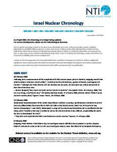 Israel Nuclear Chronology