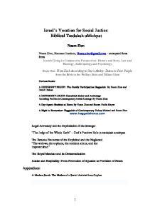 Israel s Vocation for Social Justice: Biblical Tzedakah umishpat