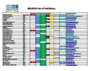 ISRI2016 List of Exhibitors
