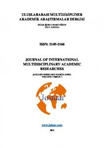 ISSN: JOURNAL OF INTERNATIONAL MULTIDISCIPLINARY ACADEMIC RESEARCHES