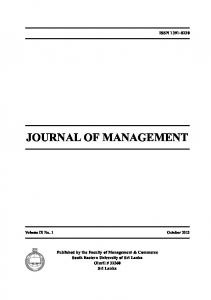 ISSN JOURNAL OF MANAGEMENT