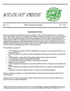 Issue 27 USD 263 District Newsletter Oct Immunization Notice