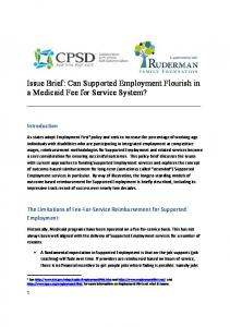Issue Brief: Can Supported Employment Flourish in a Medicaid Fee for Service System?