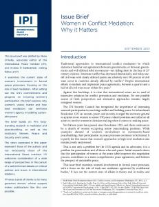 Issue Brief Women in Conflict Mediation: Why it Matters