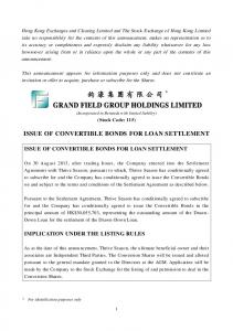 ISSUE OF CONVERTIBLE BONDS FOR LOAN SETTLEMENT