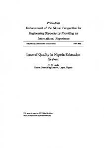 Issue of Quality in Nigeria Education System