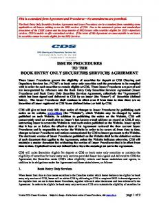 ISSUER PROCEDURES TO THE BOOK ENTRY ONLY SECURITIES SERVICES AGREEMENT