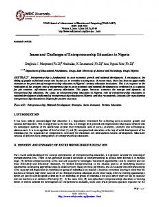 Issues and Challenges of Entrepreneurship Education in Nigeria