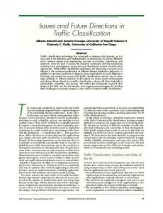 Issues and Future Directions in Traffic Classification