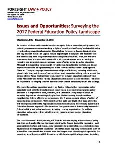 Issues and Opportunities: Surveying the 2017 Federal Education Policy Landscape